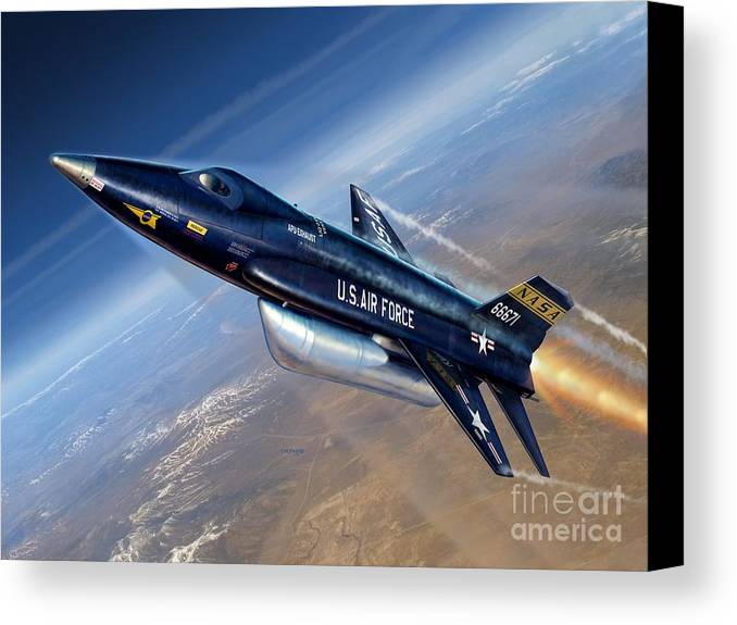X-15 Canvas Print featuring the digital art To The Edge Of Space - The X-15 by Stu Shepherd