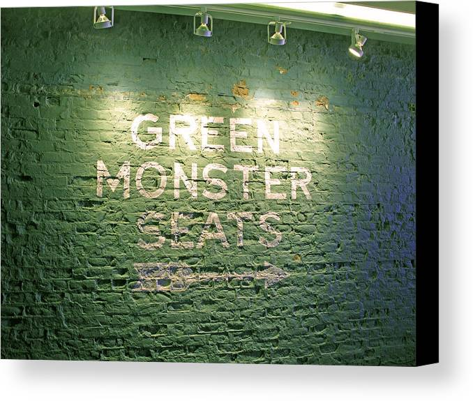 Sign Canvas Print featuring the photograph To The Green Monster Seats by Barbara McDevitt