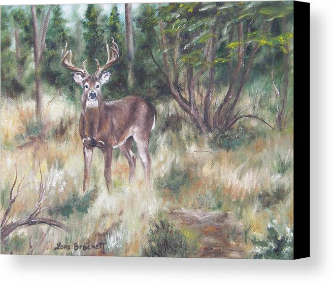 Deer Canvas Print featuring the painting Too Tempting by Lori Brackett