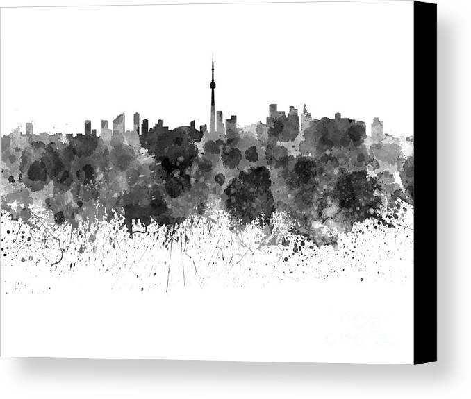 Toronto skyline canvas print featuring the painting toronto skyline in black watercolor on white background by