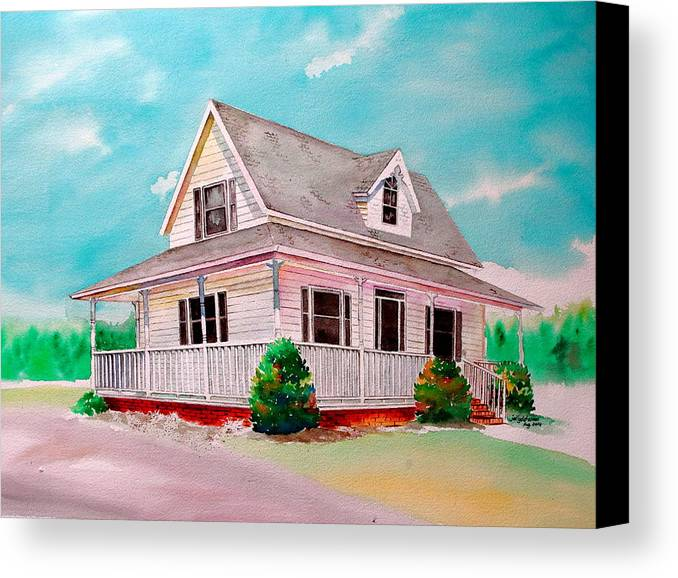 House Canvas Print featuring the painting Traditional Home by Jelly Starnes