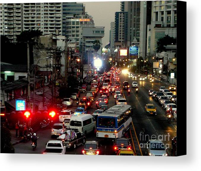 Bangkok Canvas Print featuring the photograph Traffic by Eclectic Captures