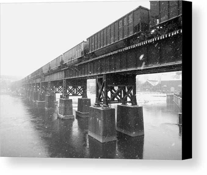Train Canvas Print featuring the photograph Train On A Trestle by Gordon Cain