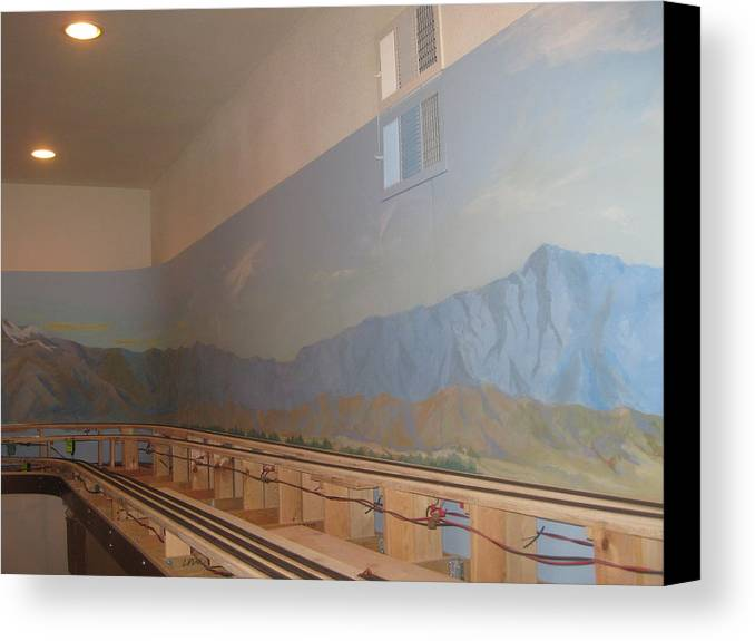 Mural Painting Canvas Print featuring the painting Train Room Before  by Maria Hunt