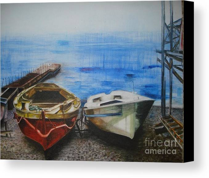 Landscape Canvas Print featuring the painting Tranquility Till Tide From The Farewell Songs by Prasenjit Dhar