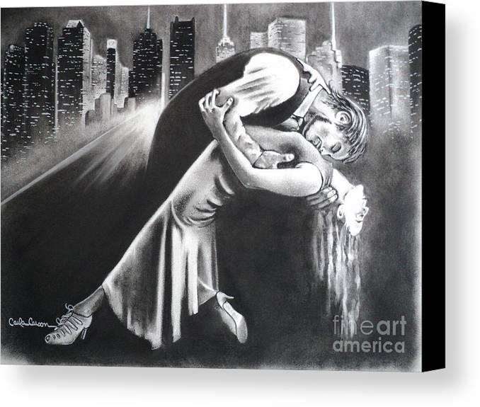Romance Canvas Print featuring the drawing True Romance by Carla Carson