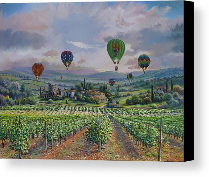 Italy Canvas Print featuring the painting Tuscany Balloon Ride by Raymond Sipos