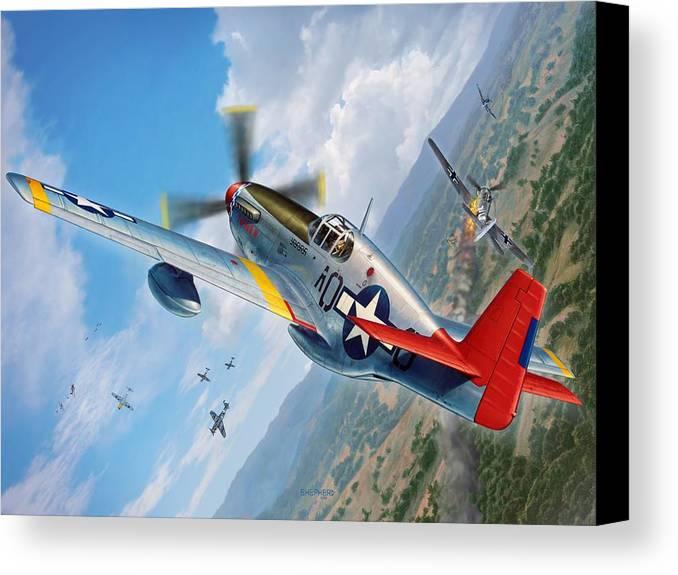 P-51 Mustang Canvas Print featuring the digital art Tuskegee Airmen P-51 Mustang by Stu Shepherd
