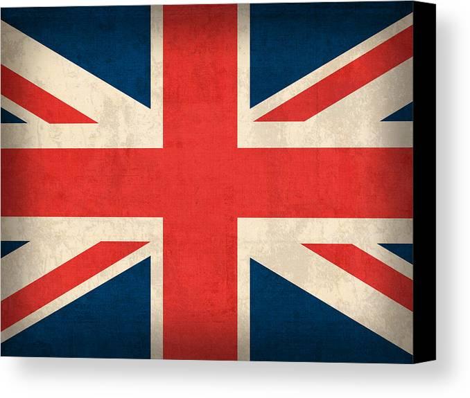 United Kingdom Union Jack England Britain Flag Vintage Distressed Finish London English Europe Uk Country Nation British Canvas Print featuring the mixed media United Kingdom Union Jack England Britain Flag Vintage Distressed Finish by Design Turnpike