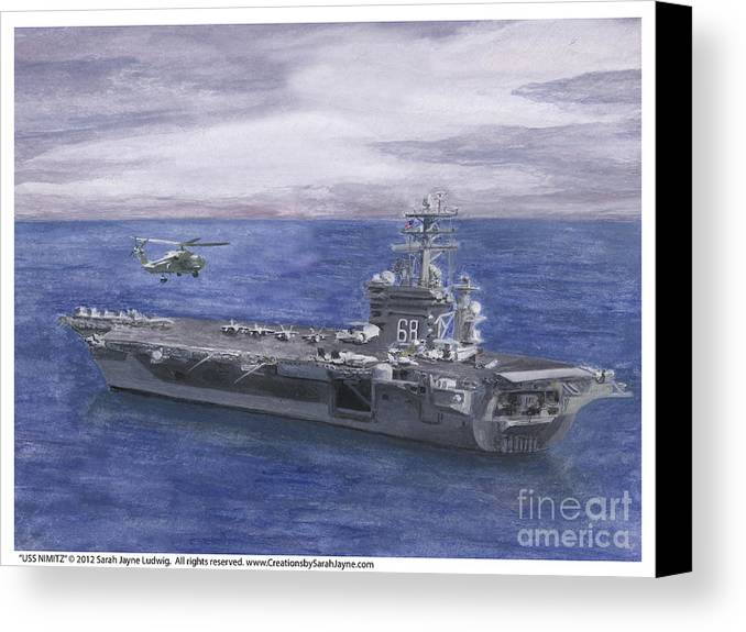 Navy Canvas Print featuring the painting Uss Nimitz by Sarah Howland-Ludwig