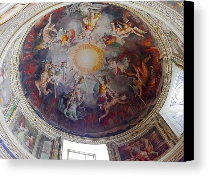 Canvas Print featuring the photograph Vatican Ceiling Fresco 1 by Herb Paynter