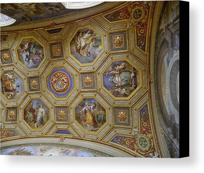 Canvas Print featuring the photograph Vatican Ceiling Fresco 2 by Herb Paynter