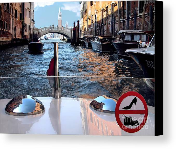 Shoe Sign Canvas Print featuring the photograph Venice Motor Boat by Jennie Breeze