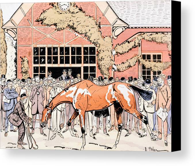 Thelem Canvas Print featuring the painting Viewing The Racehorse In The Paddock by Thelem