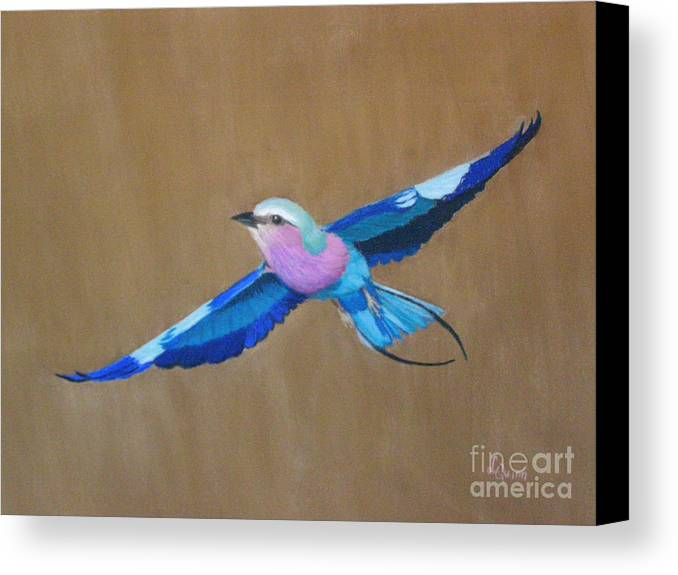 Colorful Bird Canvas Print featuring the painting Violet-breasted Roller Bird II by Lynn Quinn