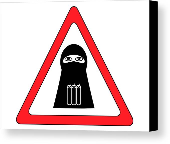 Anti-terror Canvas Print featuring the digital art Warning Shahid Sign by Aleksey Tugolukov