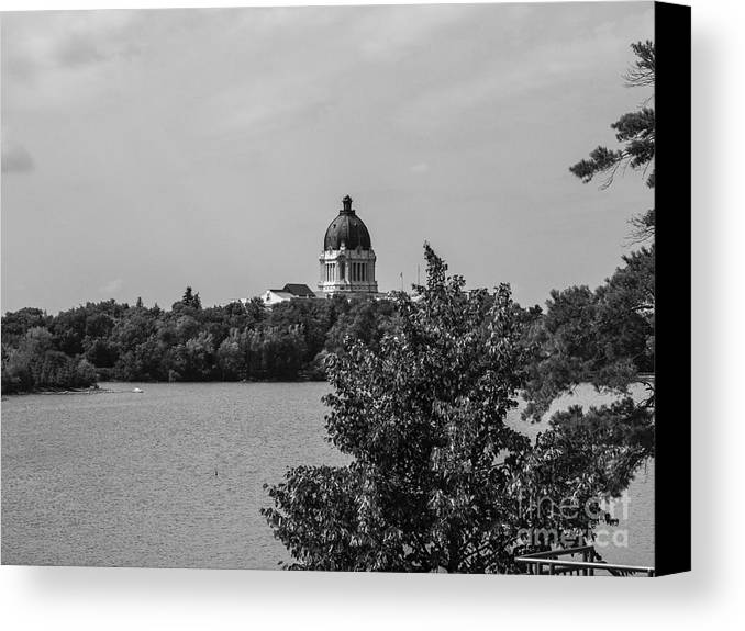 Parlement Canvas Print featuring the photograph Wascana-30 by David Fabian