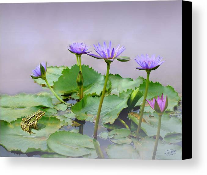 Frog Canvas Print featuring the painting Water Lilies Of Vietnam by IM Spadecaller