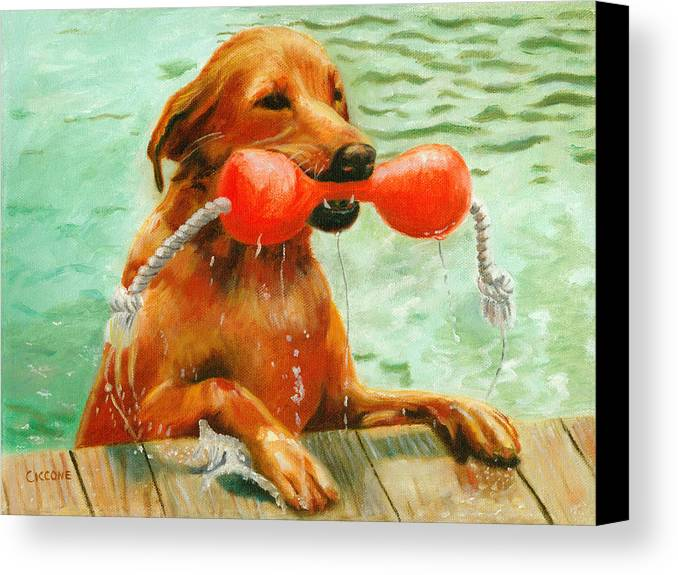 Dog Canvas Print featuring the painting Waterdog by Jill Ciccone Pike