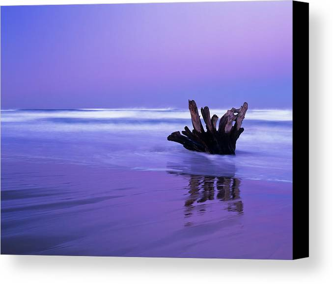 Oregon Coast Canvas Print featuring the photograph Waves Break On The Beach At Dawn by Robert L. Potts