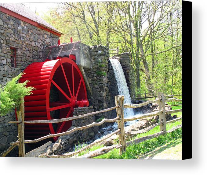Wayside Inn Canvas Print featuring the photograph Wayside Inn Grist Mill by Barbara McDevitt
