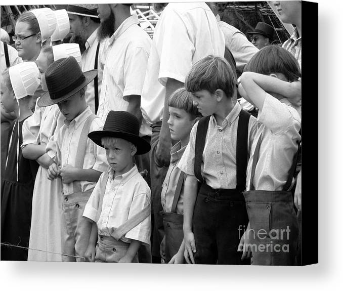 Amish Canvas Print featuring the photograph Where Did He Get That ? by Tina M Wenger