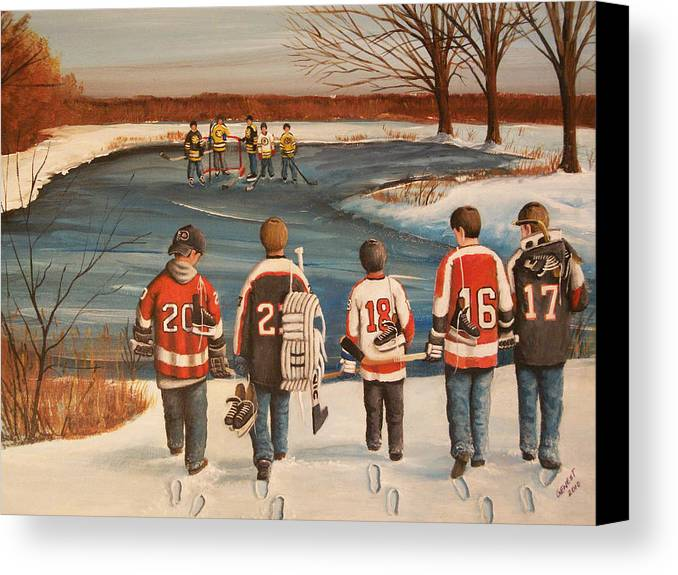Hockey Canvas Print featuring the painting Winter Classic - 2010 by Ron Genest