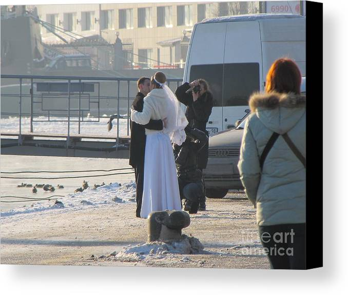 She Canvas Print featuring the photograph Winter She And He by Yury Bashkin