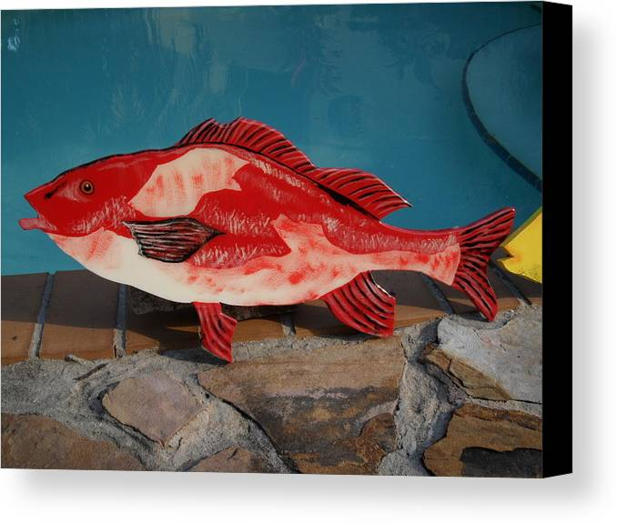 Fish Canvas Print featuring the mixed media Wooden Red Snapper by Val Oconnor