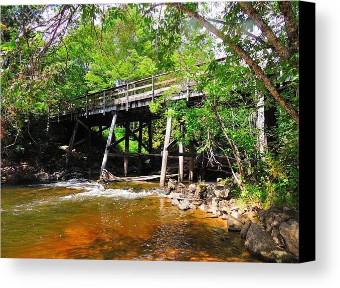Carp River Canvas Print featuring the photograph Wooden Suspension Bridge by Mikel Classen