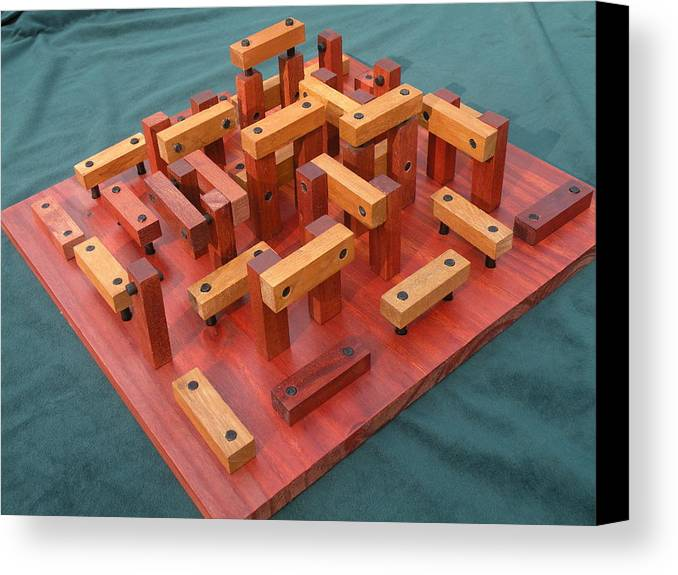 Wood Canvas Print featuring the sculpture Woodhenge by Dave Martsolf