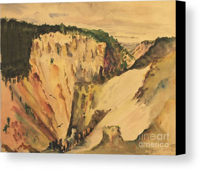 Yellowstone Canvas Print featuring the painting Yellowstone Canyon - Wyoming 1946 by Art By Tolpo Collection