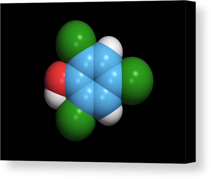2 Canvas Print featuring the photograph Molecule Of A Component Of Tcp Antiseptic by Dr Tim Evans