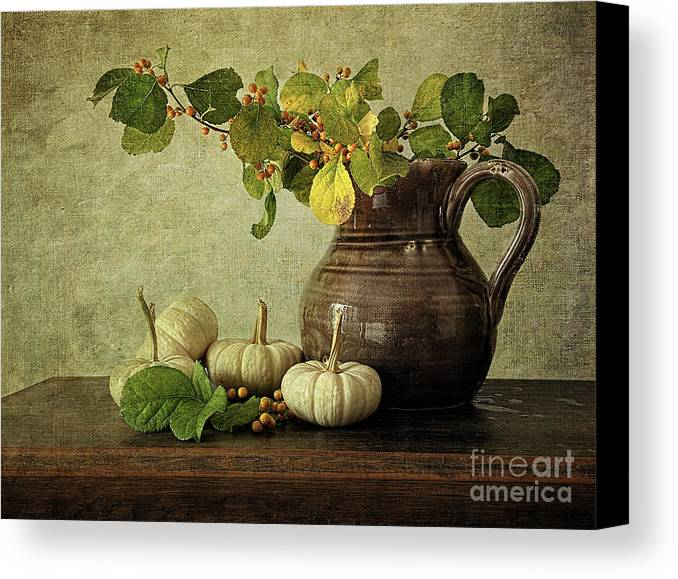 Autumn Canvas Print featuring the photograph Old Pitcher With Gourds by Sandra Cunningham