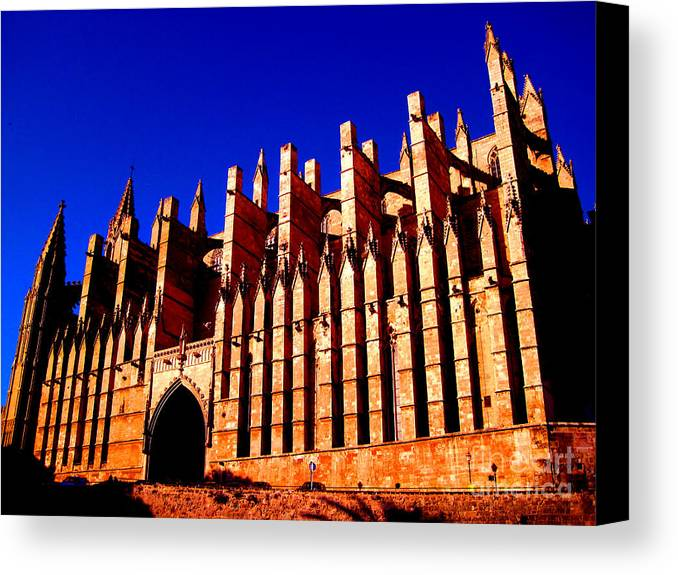 Spain Canvas Print featuring the photograph Palma Cathedral by Iris Vanessa Hood