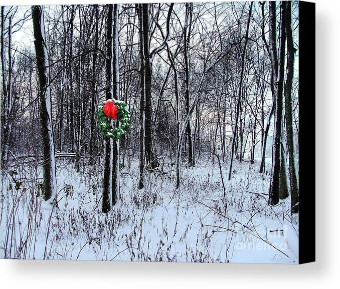 Canvas Print featuring the photograph Tyra's Woods At Christmas by Julie Dant