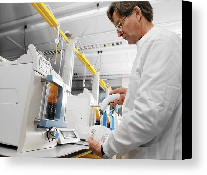Machine Canvas Print featuring the photograph Donor Blood Processing by Tek Image