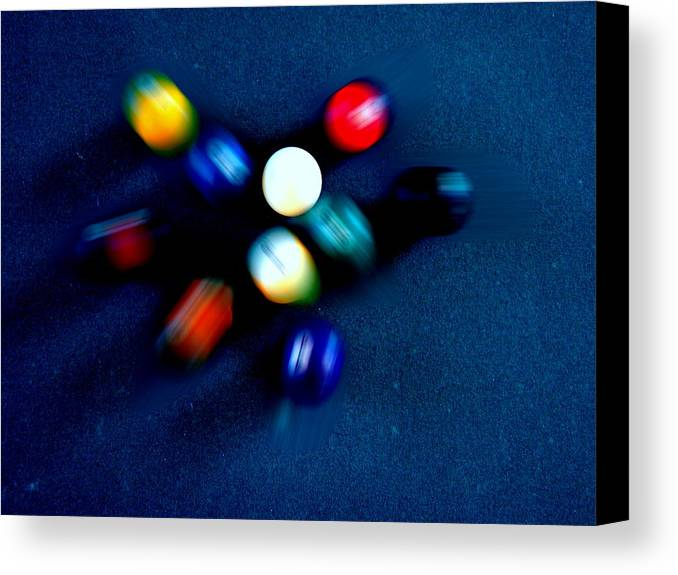 Pool Canvas Print featuring the photograph 9 Ball Break by Nick Kloepping