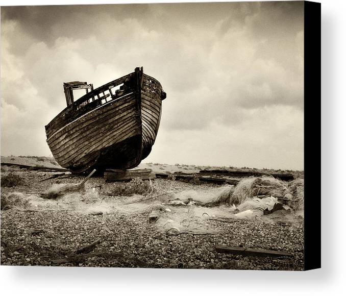 Landscape Canvas Print featuring the photograph Abandoned At Dungeness by David Turner