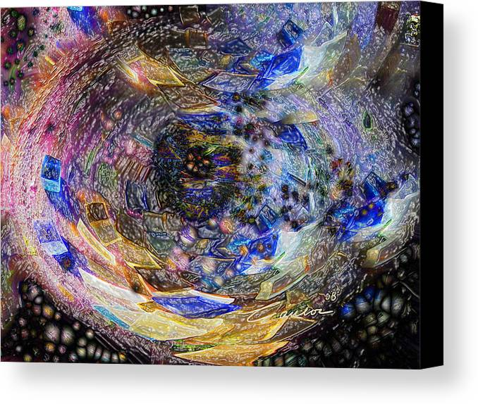 Abstract Photographs Canvas Print featuring the digital art Accreation Disk by Charles Carlos Odom