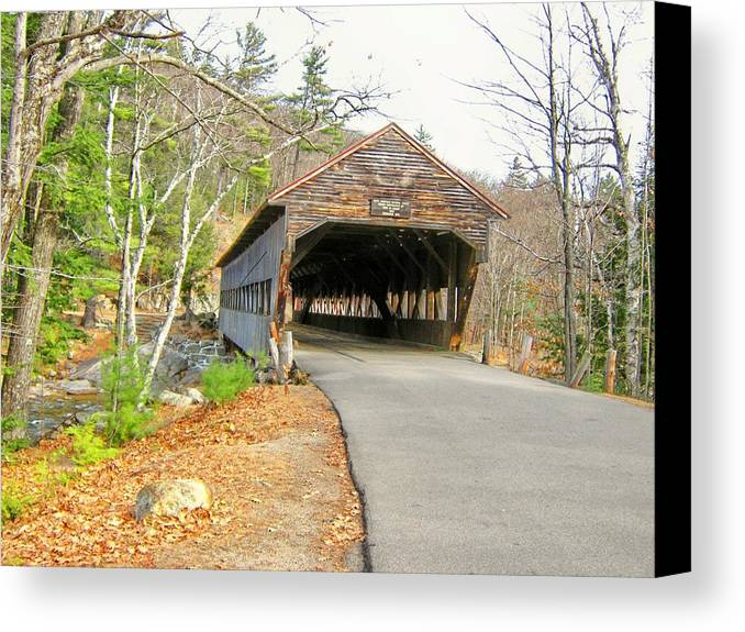 Nh Canvas Print featuring the photograph Albany Covered Bridge by Wayne Toutaint