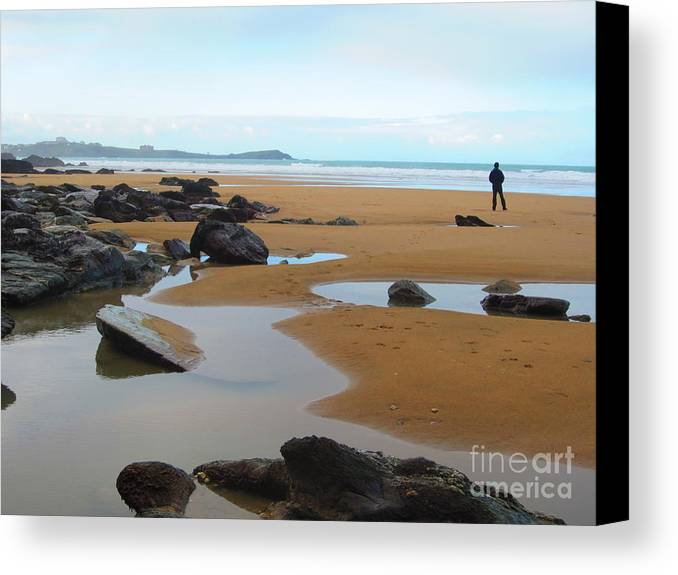 Alone Canvas Print featuring the photograph Alone On The Beach by C Lythgo