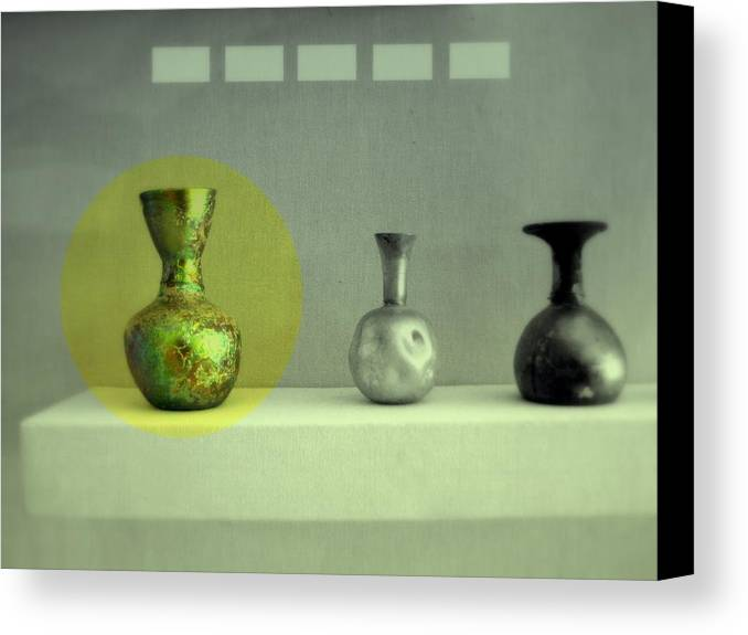 Still Life Canvas Print featuring the photograph Antique Vases Still Life Altered II by Kathleen Grace