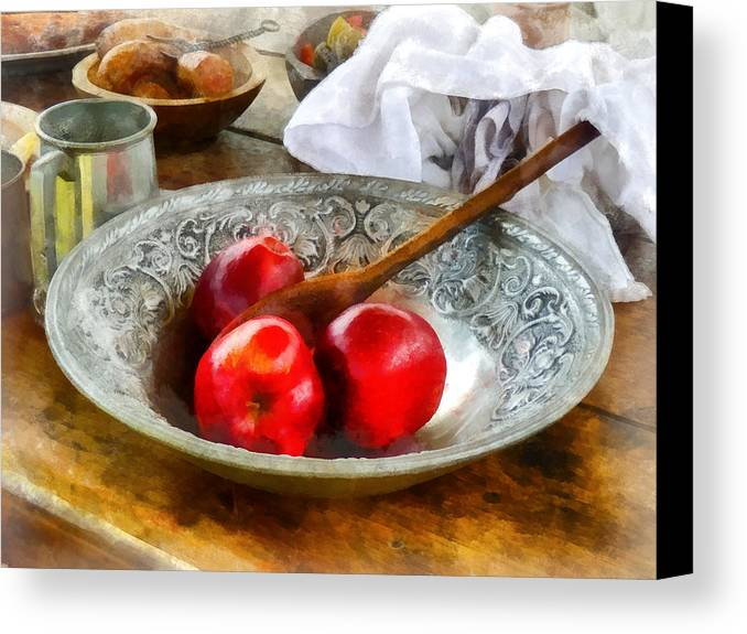 Meal Canvas Print featuring the photograph Apples In A Silver Bowl by Susan Savad