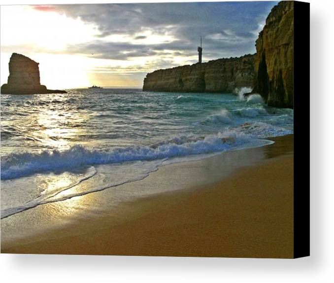 Atlantic Canvas Print featuring the photograph Atlantic Ocean Meets The Portugese Coast by Ingrid Stiehler