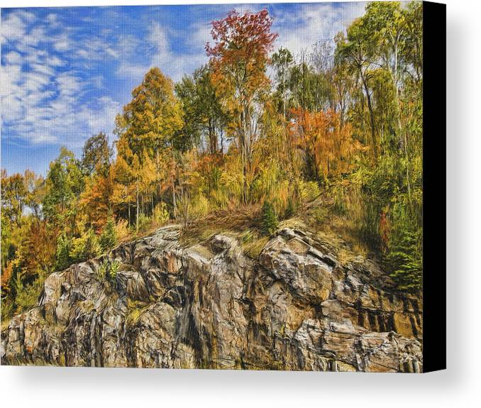 Sunny Canvas Print featuring the digital art Autumn On The Rocks by Jo-Anne Gazo-McKim