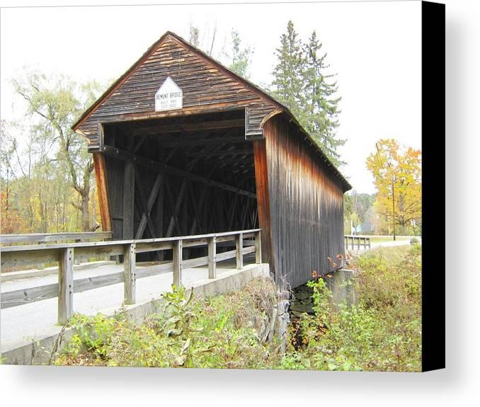 Nh Canvas Print featuring the photograph Bement Covered Bridge by Wayne Toutaint