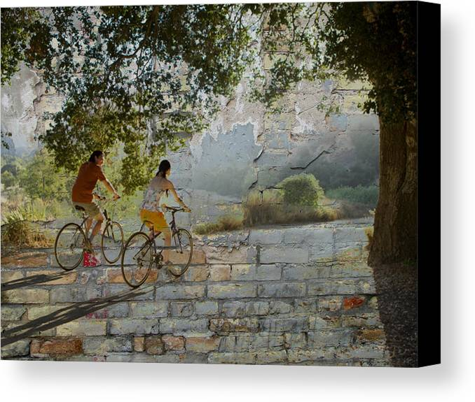 Bike Canvas Print featuring the digital art Bikes And Bricks by Anita Burgermeister
