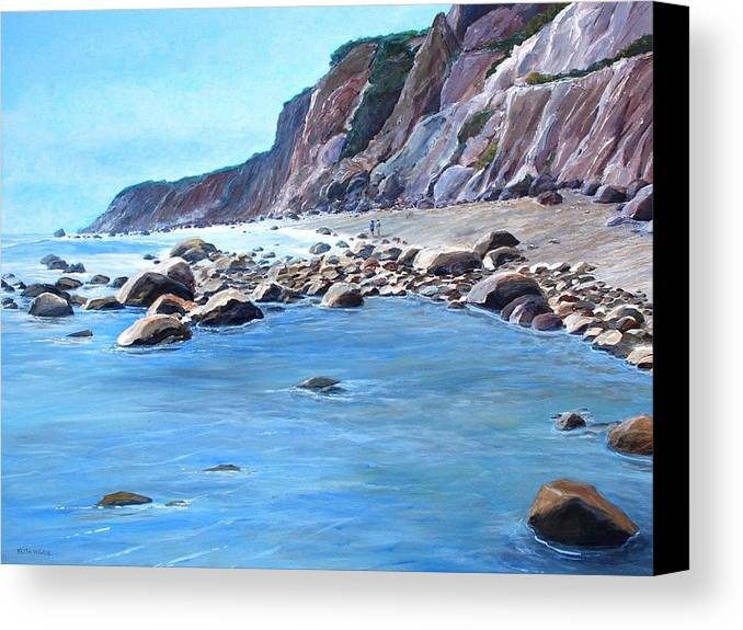 Block Island Canvas Print featuring the painting Block Island Surf by Keith Wilkie