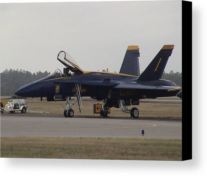 Blue Angel's Side View Canvas Print featuring the photograph Blue Angel's Side View by Michael Milanak